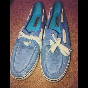 blue sequined sperry's.